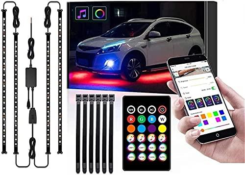 Luces LED para Coche, 4 Piezas de Tiras de Luces LED Exteriores para Coche, Kits de Luces de Acento de neón Multicolor Debajo de Las Luces para sincronizar el Coche, música y Control de Aplicaciones