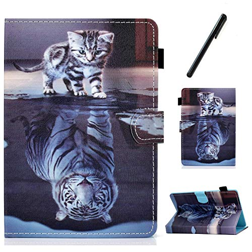 HereMore Universal Case for 7 Inch Tablet with Pen, Leather Stand Cover Protective Shell for iPad Mini 1/2/3/4/5, Fire 7, Huawei MediaPad T3 7', Samsung Tab A6 7.0, Lenovo Tab M7/Tab E7, Cat&Tiger