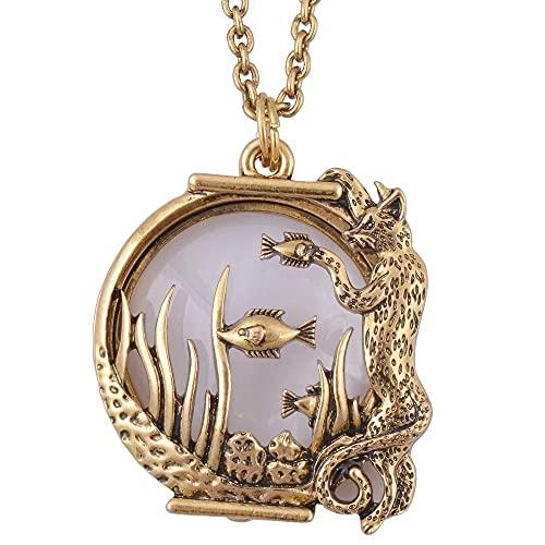 KBFDWEC Ocean Fish Animal Estilo Lupa Collar con Colgante de Vidrio joyería de Oro Antiguo con imán se Cierra y se Abre