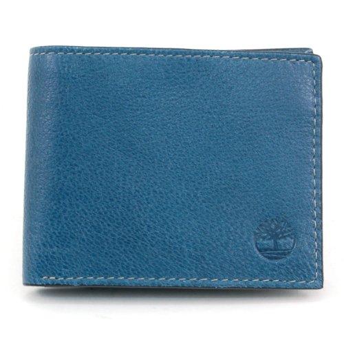 Timberland - portafolios de piel para hombre con bolsillo abatible, Azul marino (Fine Break), Talla única
