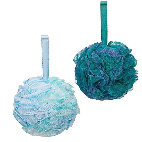 G2PLUS Soft Körper Badeschwamm Weiß und Grün Schwamm Duschschwamm Schwamm Puff, 2er-Pack