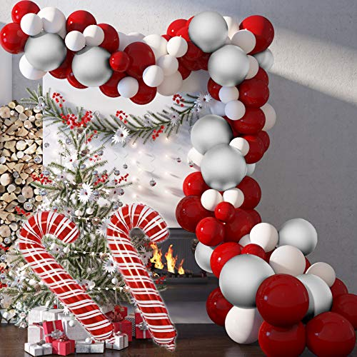 Soonlyn Christmas Balloons Arch 125 Packs with Candy Cane Balloons, Red White Silver Chrome Latex Balloons Garland Kit for Merry Christmas Party Decorations