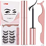 Magnetic Eyeliner and Lashes Magnetic Eyelashes Kit Reusable False Lashes 5 Style With Tweezers(Mix5-5)