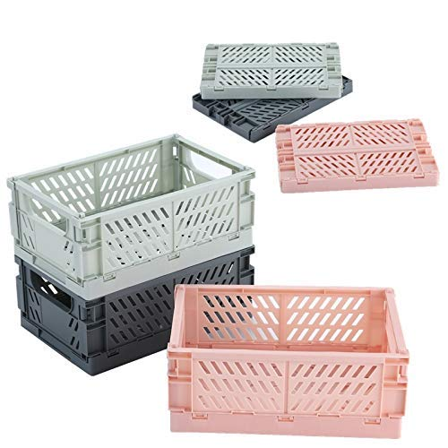 3PC Robusta caja plastico plegable apilable para Almacenamiento,cesta plegable estable camping plastico(Gris,M)
