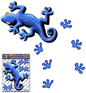 青いヤモリ動物小パックビニールウィンドウバンパーデカールステッカー車のトラックキャラバンラップトップ自転車 - ST00031BL_SML- JASステッカー