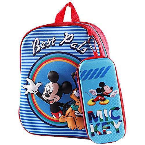 Mochila para Niños Mickey, Mochila y Estuche para Lápices 3D Mickey Mickey Mouse, Mochila de Viaje para Deportes al Aire Libre para Niños, Regalo de Cumpleaños para Niños