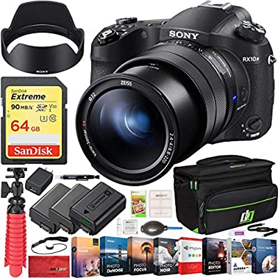 Sony RX10 IV Cyber-Shot High Zoom 20.1MP Camera with 24-600mm F.2.4-F4 Lens Bundle with 64GB Memory Card, Camera Bag, 2X Battery and Photo and Video Professional Editing Suite by Sony