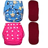 Bottom Genius Pocket Cloth Diapers for Babies Set of 2 with 2 Microfiber