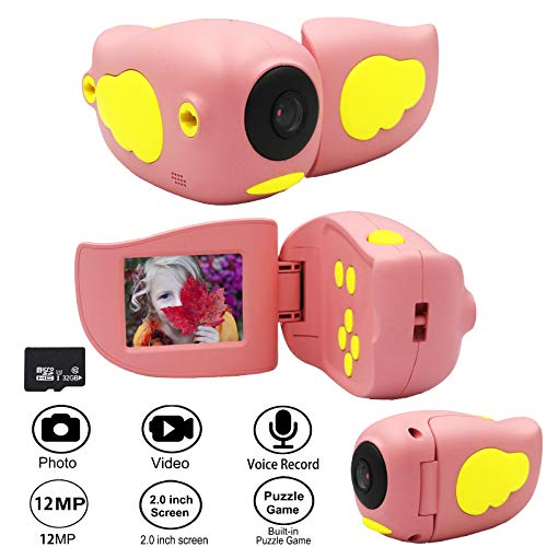 Gurmoir Kids DV Camera.12MP Digital Video Camera with Game Photo 1080P HD Video Record 2.0 inch Screen.Best Birthday/Holiday for 3-12 Years Boys/Girls (with 32GB Micro SD Card)(Pink)