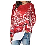 Damen T-Shirt Pullover Casual Langarm Weihnachten Drucken Top Bluse Frauen Christmas Sweatshirt Blusen Asymmetrisch Stretch Rundhals Longshirt Oberteil Lässige Weihnachtstops Langarmshirts