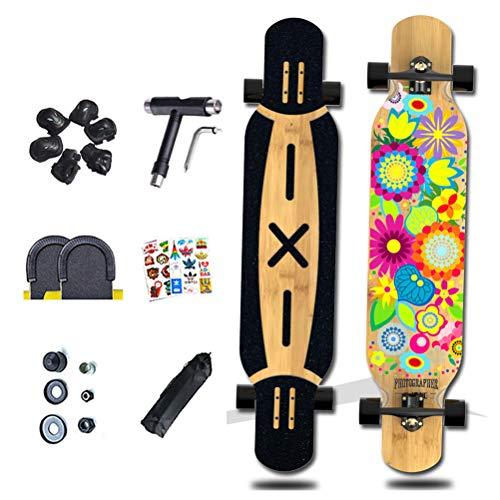 LXJ-LD 45-Zoll-Freeride-Longboard-Komplettkreuzer, Maple Highway-Skateboard, Maximale Belastung 150 Kg Für Jugendliche Erwachsene Mädchen Jungen Kinder,06