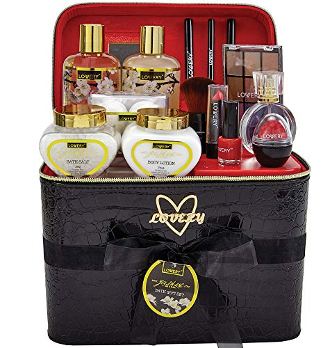 Premium Bath and Body Gift Basket For Women – 30 Piece Set, Floral Jasmine Home Spa and Makeup Set, Includes Cosmetic Pencils, Lip Balms, Lotions, Perfume, Black Leather Cosmetic Bag and Much More