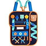 LA·LA · LLAMA Montessori Toddler Busy Board - Learning Backpack with Buckles Zippers Snaps & Buttons - Sensory Activity Board for Toddlers - Fine Motor Skills Toys for Kids 1 2 3 4 Year Old