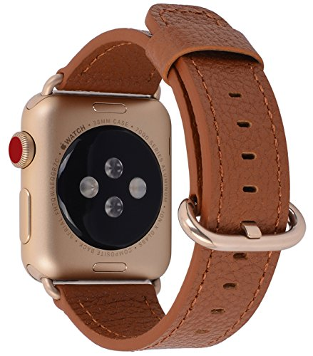PEAK ZHANG Compatible with Apple Watch Band 38mm 40mm 42mm 44mm Women Men Genuine Leather Replacement Strap with Champagne Gold Adapter and Buckle for iWatch Series 4,3,2,1(Light Brown,42mm 44mm M/L)