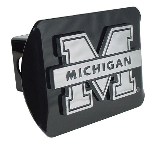 Elektroplate Michigan Wolverines Black Metal Trailer Hitch Cover Chrome Metal with NCAA Logo Fits 2