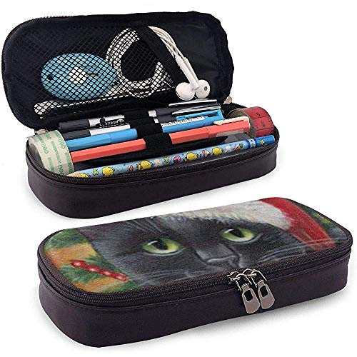 Eine Katze mit einer Weihnachtsmütze Federmäppchen Hohe Kapazität Leder Bleistiftbeutel Schreibwaren Veranstalter Make-up Tasche