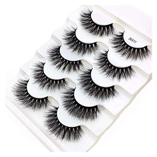 QH 5 Pairs Of 3D Mink Eyelashes False Eyelashes Thick Cross False Eyelashes Naturally Curly Soft Makeup False Eyelashes (Color : JKX77, Length : 5pairs)