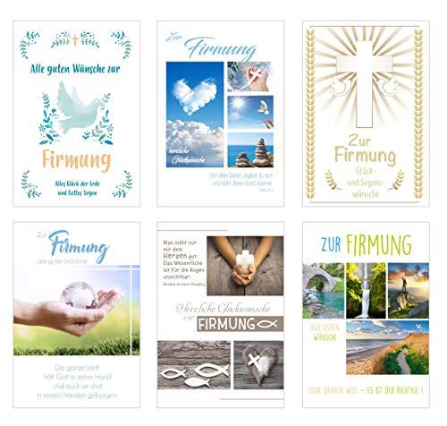 Edition Seidel Set 6 exklusive Karten zur Firmung mit Umschlag (Doppelkarten/Klappkarten mit Briefumschlag)