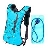 TANGMEN Hombre Mujeres Mochila de hidratación de 2L con Bolsa de Bicicleta de vejiga de hidratación para Correr al Aire Libre Ciclismo Ciclismo Senderismo Azul