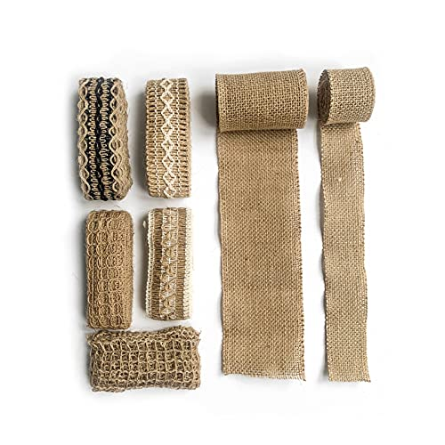 リボン 天然ジュートバーラップリボンセットDIYギフト縦糸リボン麻ヴィンテージ素朴なリボンフェスティバルデコレーションパーティークラフト (Color : 7pcs x 2m)