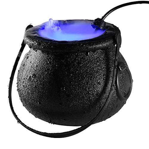 BSTCAR Halloween Nebelmaschine, Nebelmacher, Farbwechsel, Hexenkessel Nebelmaschine mit 12 Bunten LED-lichtern, Teichnebler, Wasserfüllendes Hexenglas,Gartendeko Halloween Deko (EU)