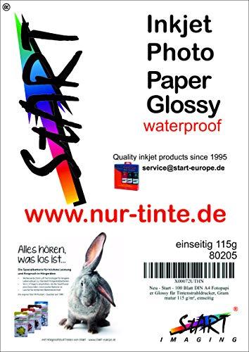 Start - 100 Blatt DIN A4 Fotopapier 115g Glossy für InkJet Drucker - extra leicht leicht/dünn - glänzend - sofort trocken - wasserfest - hochweiß sehr hohe Farbbrillianz für Tintenstrahldrucker