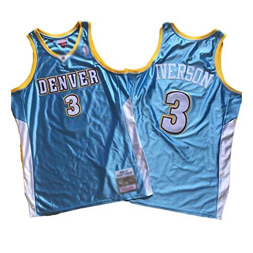QPY Allen Iverson Basketball Trikots Denver Nuggets #3 Tops ärmellos T Shirts, atmungsaktiv bestickt Basketball Jersey (S-XXL) Gr. XL, farbe