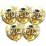 DIWULI, 5 Stück Geburtstags Luftballons, Zahl 70, Happy Birthday, Konfetti Sterne Latex-Ballons Gold, Latex-Luftballons, Zahlen-Ballons, Geburtstags-Deko Ballon-Set 70. Geburtstag, Party, Dekoration