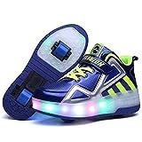 Unisex Ragazze Ragazzi LED Ruote Scarpe da Skateboard,High-Top, LED Lampeggiante Scarpe Outdoor Multisport Ginnastica