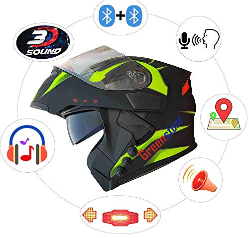 Green Stone G6 Flip-Up Smart Dual Bluetooth Helmet with Brake/Indicator Light &...