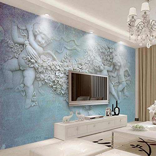 European Style 3D-Stereo Relief Angel Photo Mural Wallpaper Hotel Living Room Backdrop Wall Paintings