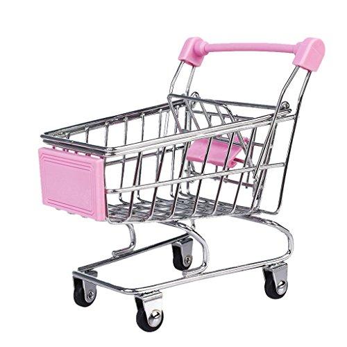 Generic Mini Supermarkt Schubkarre Einkaufswagen 12 x 8,5 x 11 cm zur Deko und Aufbewahrung - Rosa