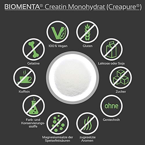 Biomenta® 1000g reines Creatin Monohydrat Pulver   Hochwertiges geschmacksneutrales Creapure® Creatine / Kreatin   Optimiert mit Vitamin B6 (Pyridoxin), B9 (Folsäure) und B12 (Methylcobalamin)   Hergestellt in Deutschland   Unterstützt beim Kraftsport & Bodybuilding - 3