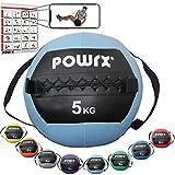 POWRX Medizinball inkl. Griff Band I Fitnessball Wall Ball 1-8 kg I Robuster Medizin Fitnessball 5...
