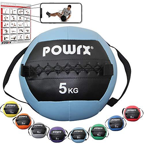 POWRX Wall Ball con Asas Laterales 5 kg - Ideal para Ejercicios de...