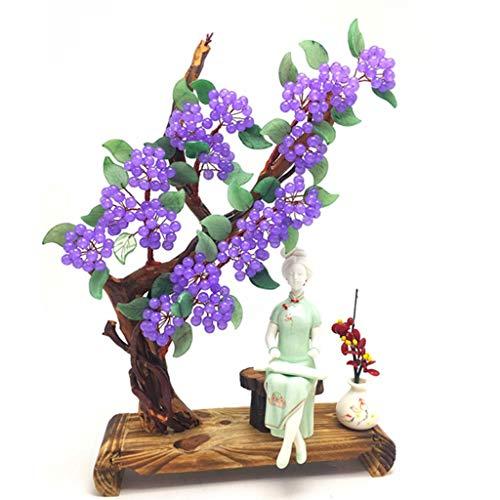 liushop Árbol de Cristal Natural de Cristal en Polvo calcedonia Dongling Jade Suerte árbol Adornos for la Buena Suerte Riqueza Prosperidad Árbol Bonsai Artificial