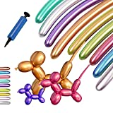 Balloons for Balloon Animals, 100PCS Long Twisting Balloons Kit with Pump, Metallic 260 Latex Balloons, Kit for Animal Making Magic Chrome Balloons Mixed Color for Birthday Wedding Festival Party