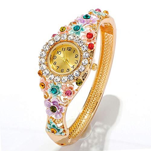 lxwi Reloj Decorativo Reloj De Pulsera Romántico De Moda Clásica De Cuarzo para Mujer, Reloj étnico con Diamantes para Mujer, Reloj Digital, Correa De Flores(Color:4)