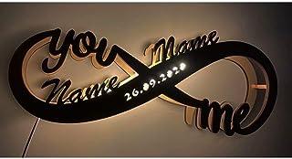Luz de noche LED personalizada, decoración infinita Luz de noche LED Colgante de pared personalizado con nombres y fecha Regalos románticos para cualquier pareja