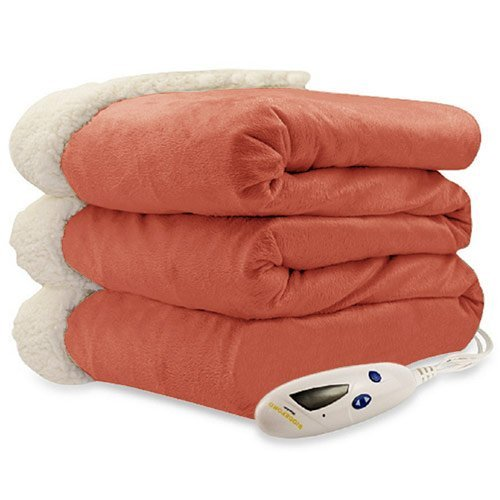 Biddeford 4480-9064114-719 Electric Heated Micro Mink/Sherpa Throw, 50-Inch by 62-Inch, Spice