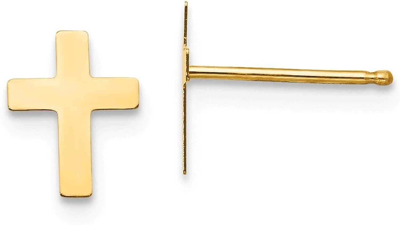 Yellowgold 14k Madi K Polished Cross Friction Post Earrings
