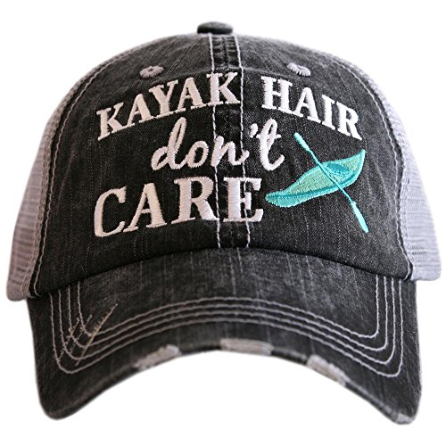 KATYDID Kayak Hair Don't Care Baseball Cap - Trucker Hat for Women - Stylish Cute Sun Hat Gray Mint