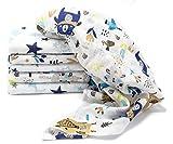 Clevere Kids Mulltücher mit Sternen | 6er Pack | Spucktücher Mullwindeln | 70x80 | doppelt gewebt |OEKO-TEX (Waldfreunde navy)