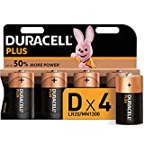 Duracell Plus, lot de 4 piles alcalines type D 1,5 Volts, LR20 MN1300