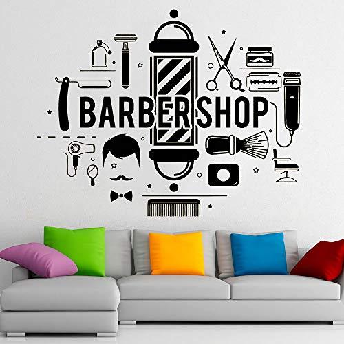 Salon de coiffure sticker mural outils de coiffeur hommes coiffure Design rasage Salon de coiffure décor intérieur vinyle fenêtre autocollant Art papier peint