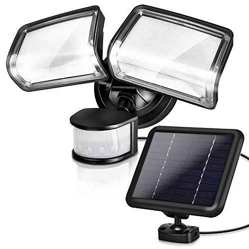 Solar Security Lights, 1600LM LED Solar Motion Sensor Lights with Adjustable Dual Head, IP65 Waterproof, 5730K White Light, Solar Motion Sensor Flood Lights for Garage, Patio, Yard, Pathway, Backyard
