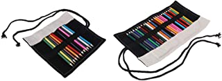 Baosity 2Pcs Canvas Pencil Wrap with Rope Makeup Cosmetic Brush Roll-up Storage Case(Pencils Included)