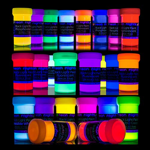 '3 Forces Set' - 24 Cans by neon nights - 8 Invisible UV Blacklight Paints - 8 Glow in The Dark Paints - 8 Invisible Blacklight Paints Set - Vibrant Ultraviolet Self-Luminous Black Light Paint - 20ml