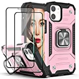 YmhxcY Compatible for iPhone 12/iPhone 12 Pro Case with Tempered Glass Screen Protector[2 Pack],Armor Grade with Rotating Holder Kickstand Non-Slip Hybrid Rugged Phone Case for iPhone 12-Rose Gold