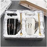 Juego de tazas de café para parejas, regalo de boda para novios, para compromisos o aniversarios (414 ml), cerámica, Tazas de café Mr and Mrs.